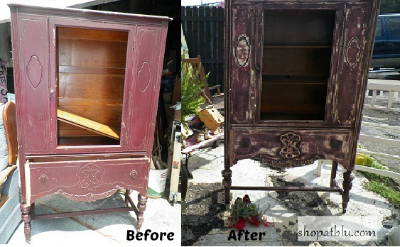 before and after vintage china cab redo shop at blu