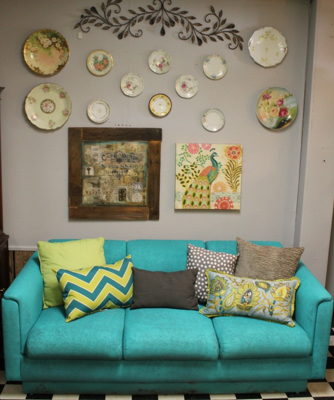 the-blue-building-shopatblu-fab-furniture-flipping-contest-turquoise-sofa-wall-art-antique-plates