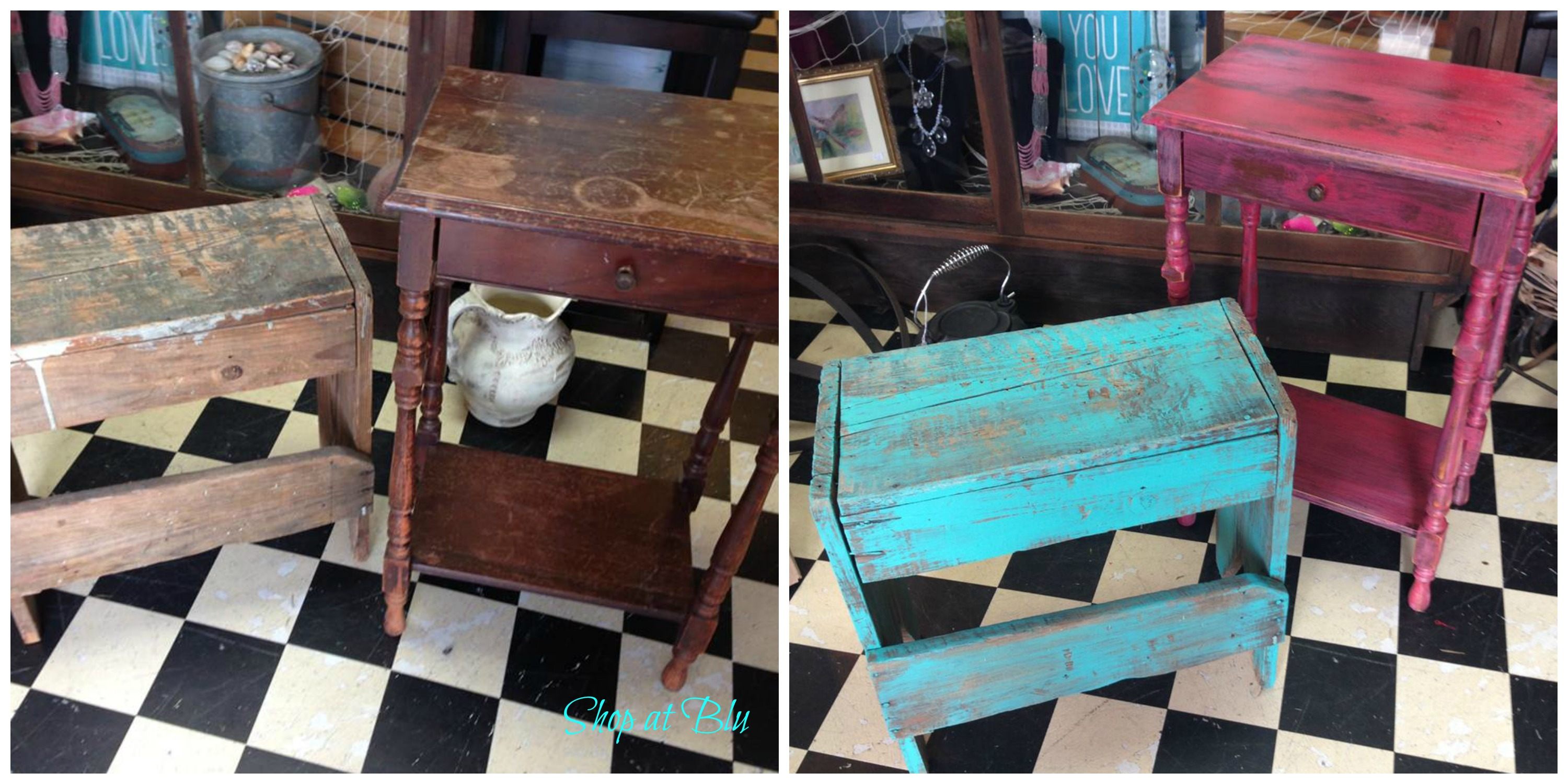 Shop-at-Blu-the-blue-building-table-teal-bench-coral-table-before-and-after