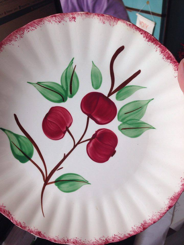 Blue Ridges Pottery china patterns Cherry Bounce plate available at The Blue Building Antiques and Consignment in Alabaster AL