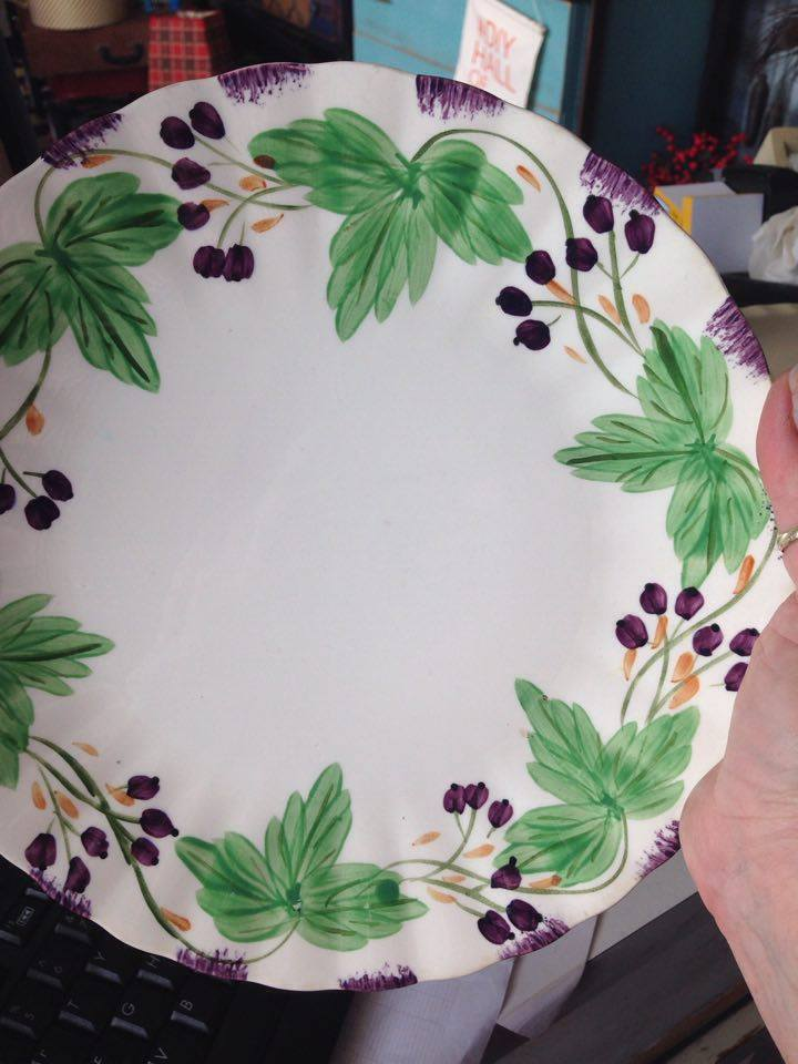 Blue Ridges Pottery china patterns Foxgrape plate available at The Blue Building Antiques and Consignment in Alabaster AL