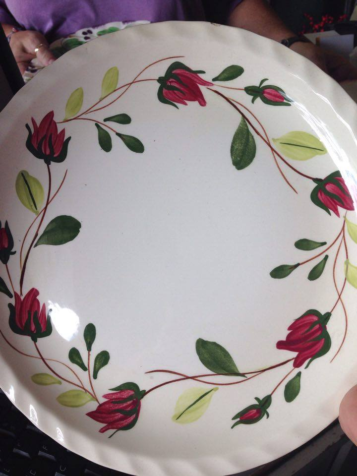 Blue Ridges Pottery china patterns Ring O Roses plate available at The Blue Building Antiques and Consignment in Alabaster AL