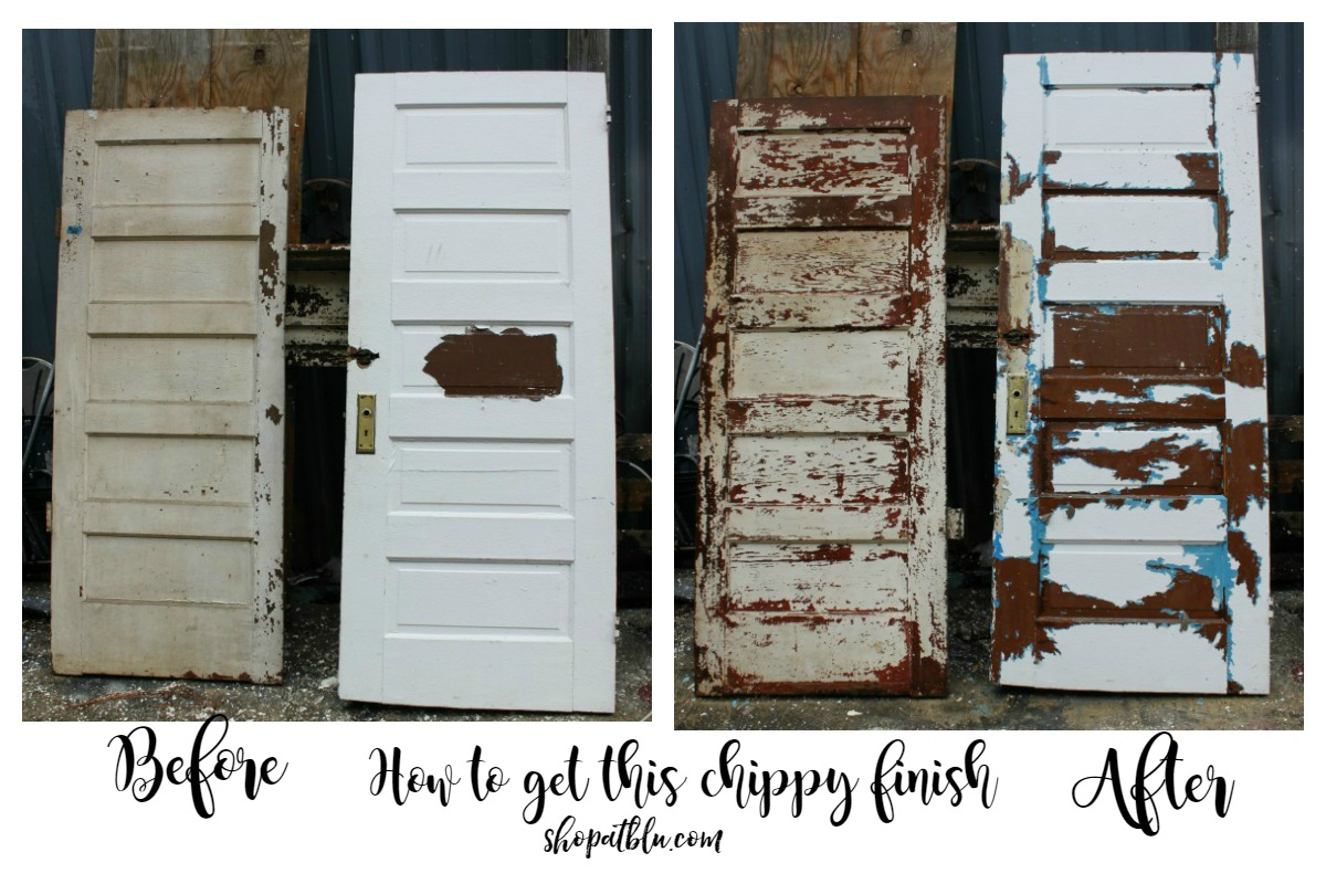 The Blue Building Antiques Alabaster AL Chippy Doors before and after