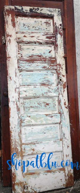 The Blue Building Antiques Alabaster AL Chippy Aqua Door