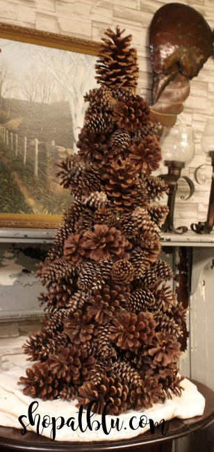 The Blue Building Antiques Alabaster AL shopatblu Giant pinecone tree from a tomato cage