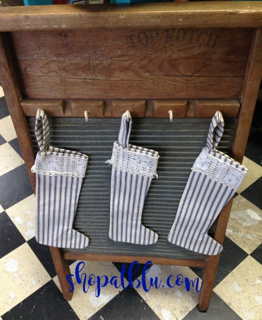 The Blue Building Antiques Alabaster AL Upcycle Project Washboard and Ticking Stockings