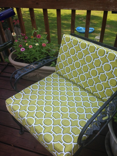 The Blue Building Antiques, Alabaster AL Deck makeover on a budget green chair