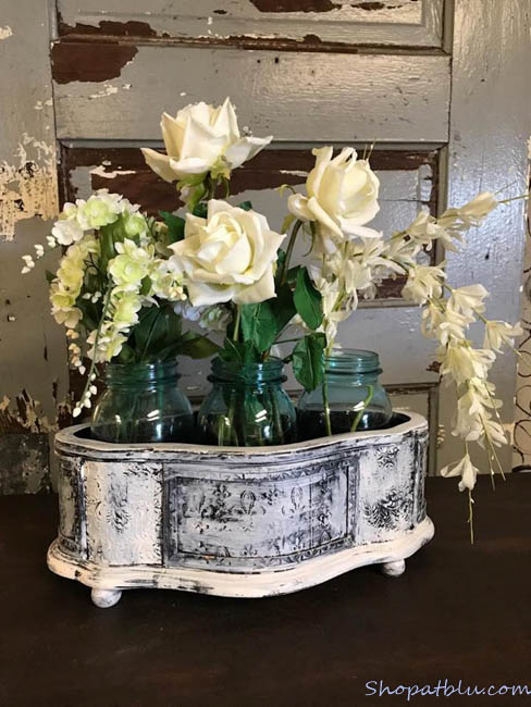The Blue Building Antiques Alabaster AL Quick Upcycle Project 3 planter with floral ball jars
