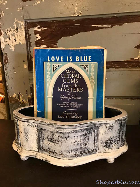 The Blue Building Antiques Alabaster AL Quick Upcycle Project 3 planter with sheet music