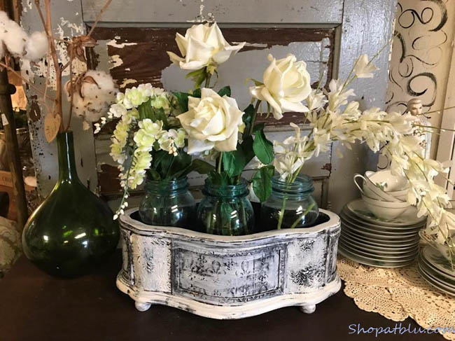 The Blue Building Antiques Alabaster AL Quick Upcycle Project 3 planter with floral