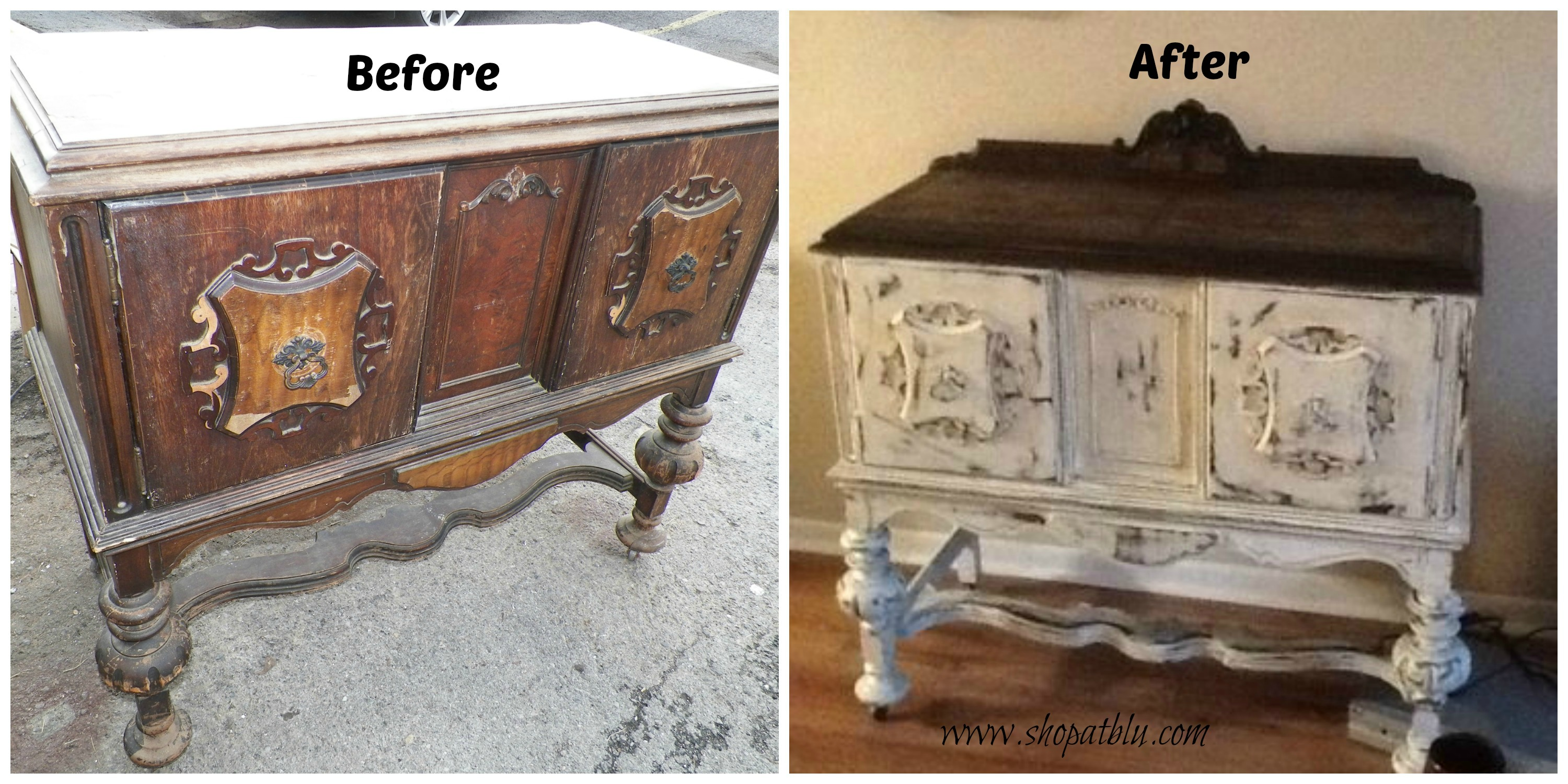 The Blue Building Antiques Alabaster, AL Upcycle Project Transformation with Paint antique sideboard
