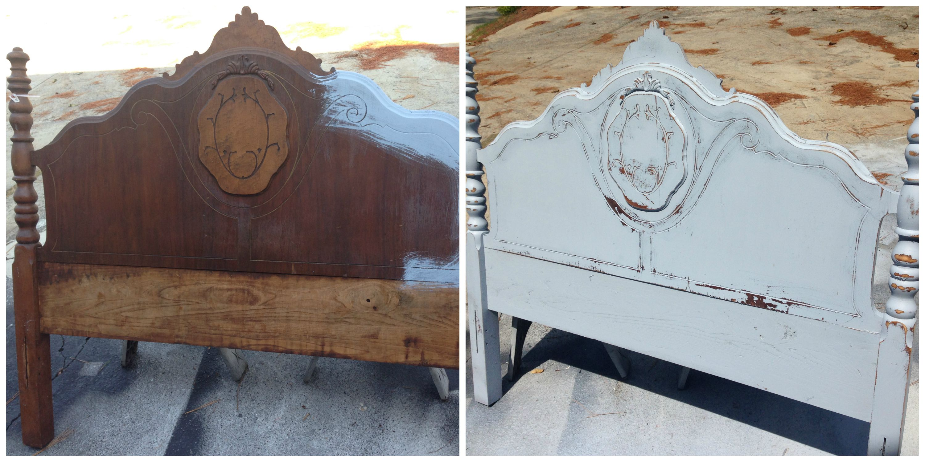 The Blue Building Antiques Alabaster, AL Upcycle Project Transformation with Paint headboard